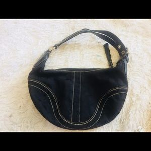 Coach small hobo black leather purse